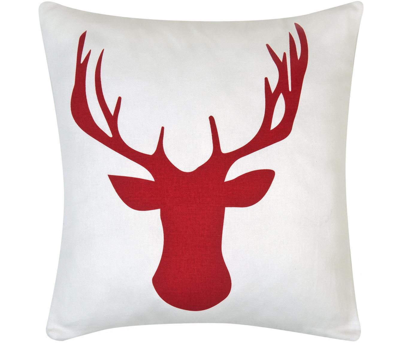 Kissenhülle Deer in Weiss/Rot, Baumwolle, Panamabindung, Dunkelrot, Ecru, 40 x 40 cm