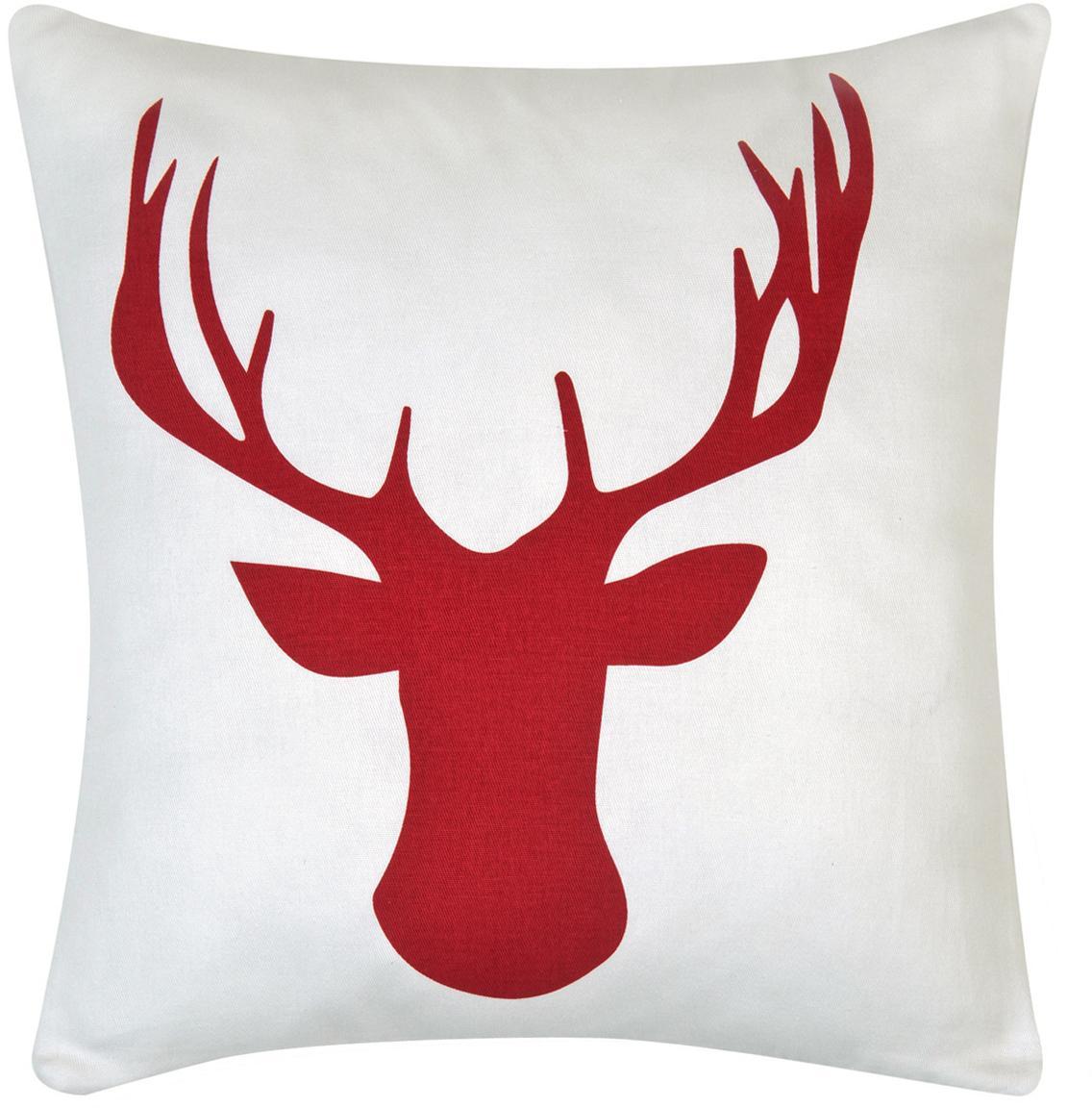 Federa arredo in bianco/rosso Deer, Cotone, tessuto panama, Rosso scuro, ecru, Larg. 40 x Lung. 40 cm