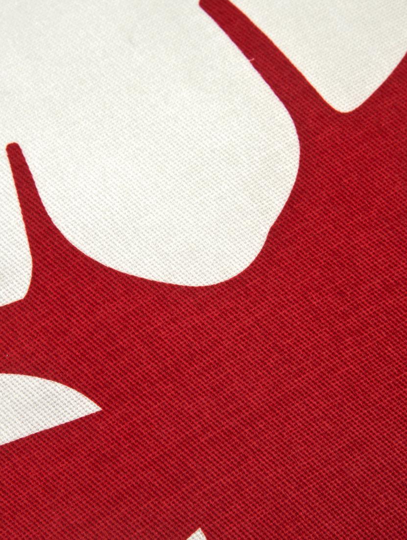 Funda de cojín Deer, 100%algodón, tela Panamá, Rojo oscuro, crudo, An 40 x L 40 cm
