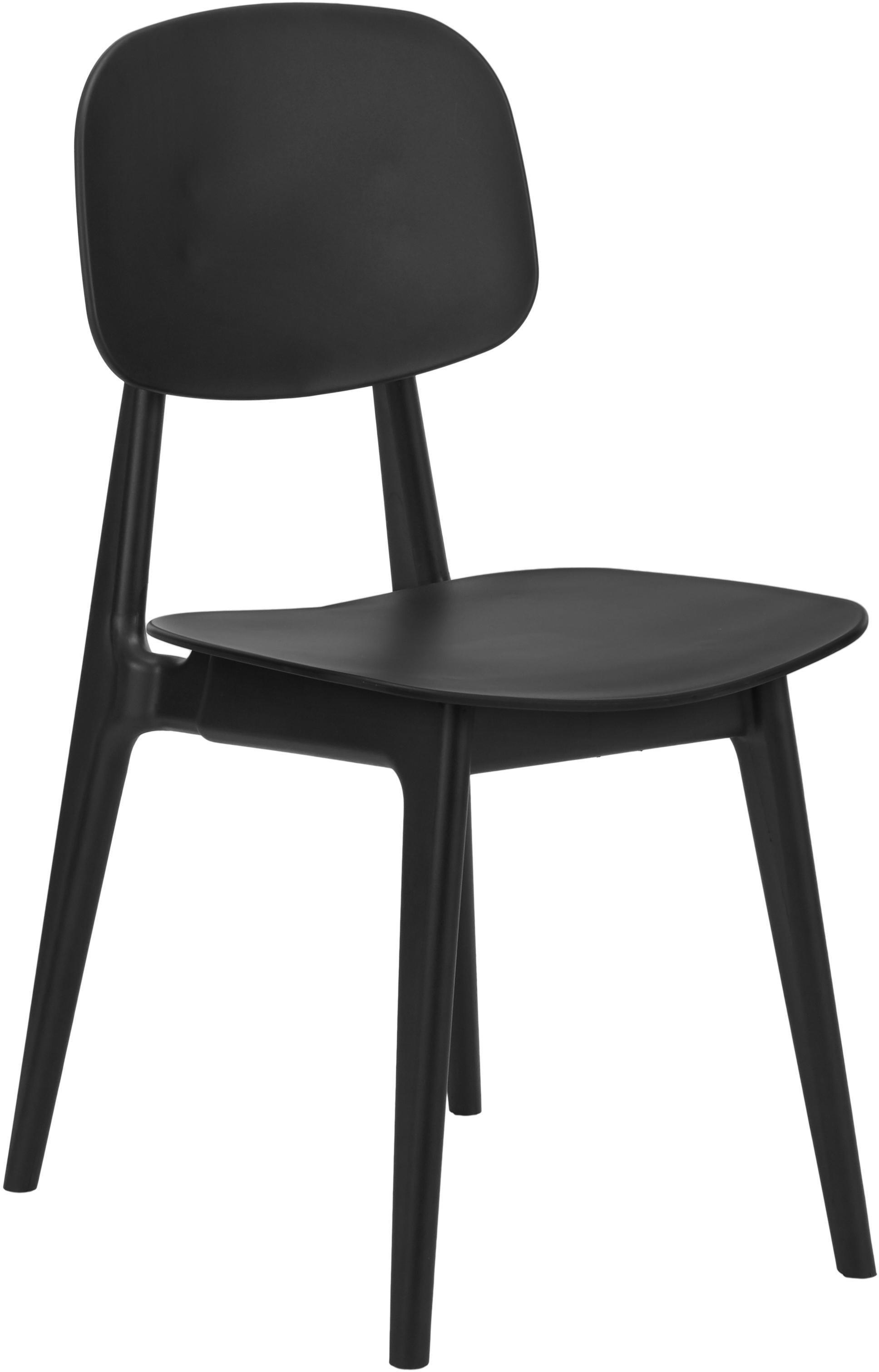 Sillas de plástico Smilla, 2uds., Asiento: plástico, Patas: metal, con pintura en pol, Negro mate, An 43 x F 49 cm