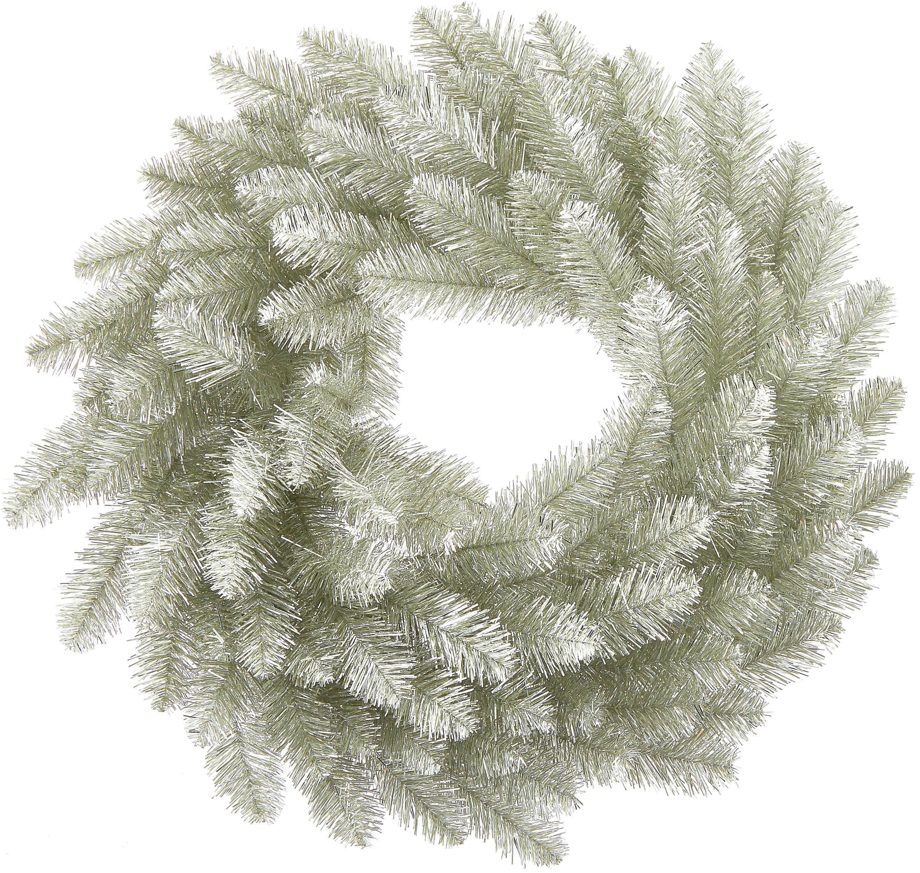 Künstlicher Weihnachtskranz Colchester, Kunststoff (PVC), Platinfarben, Ø 60 cm