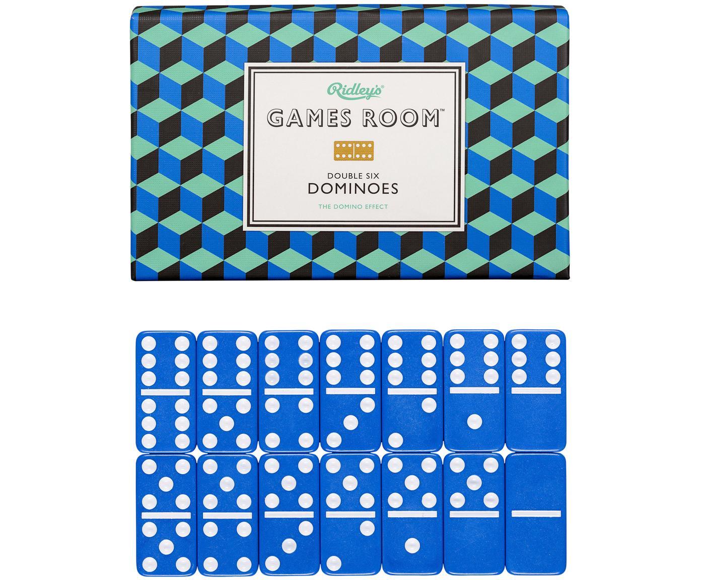 Domino-set, Doos: karton, Blauw, wit, 16 x 4 cm
