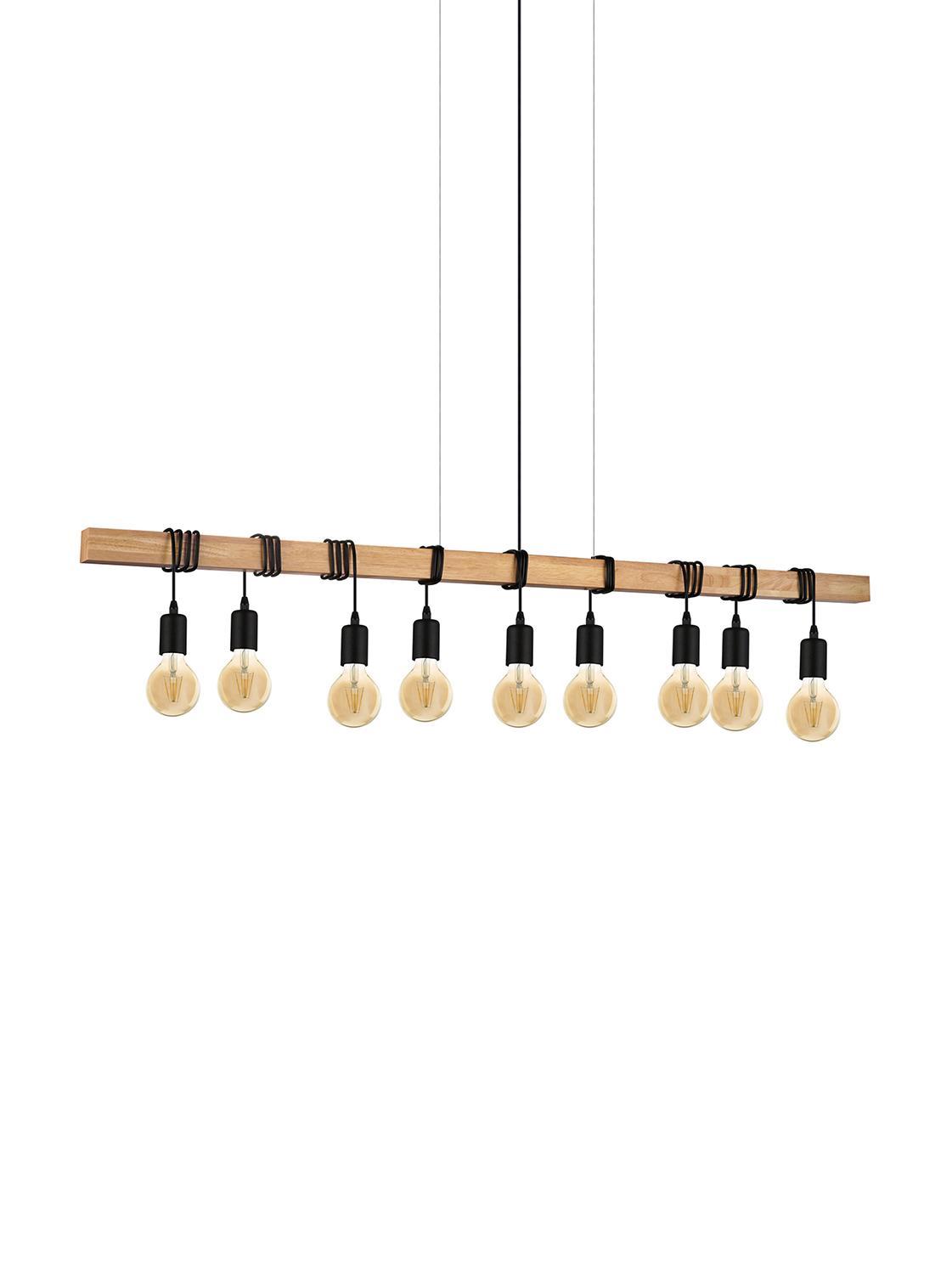 Hanglamp Townshend, Gecoat staal, hout, Zwart, houtkleurig, 150 x 110 cm
