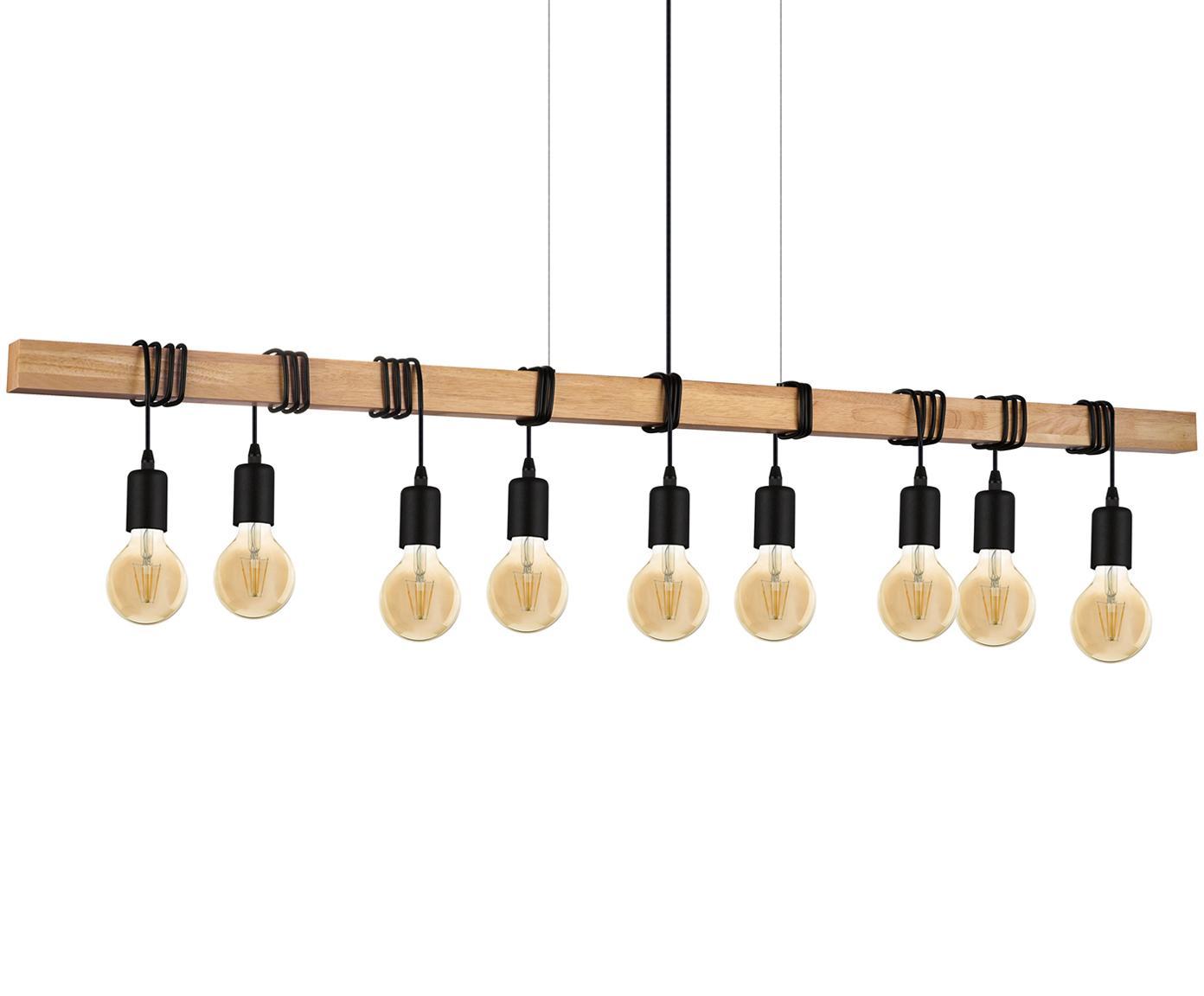 Lampada a sospensione Townshend, Acciaio rivestito, legno, Nero, legno, Larg. 150 x Alt. 110 cm