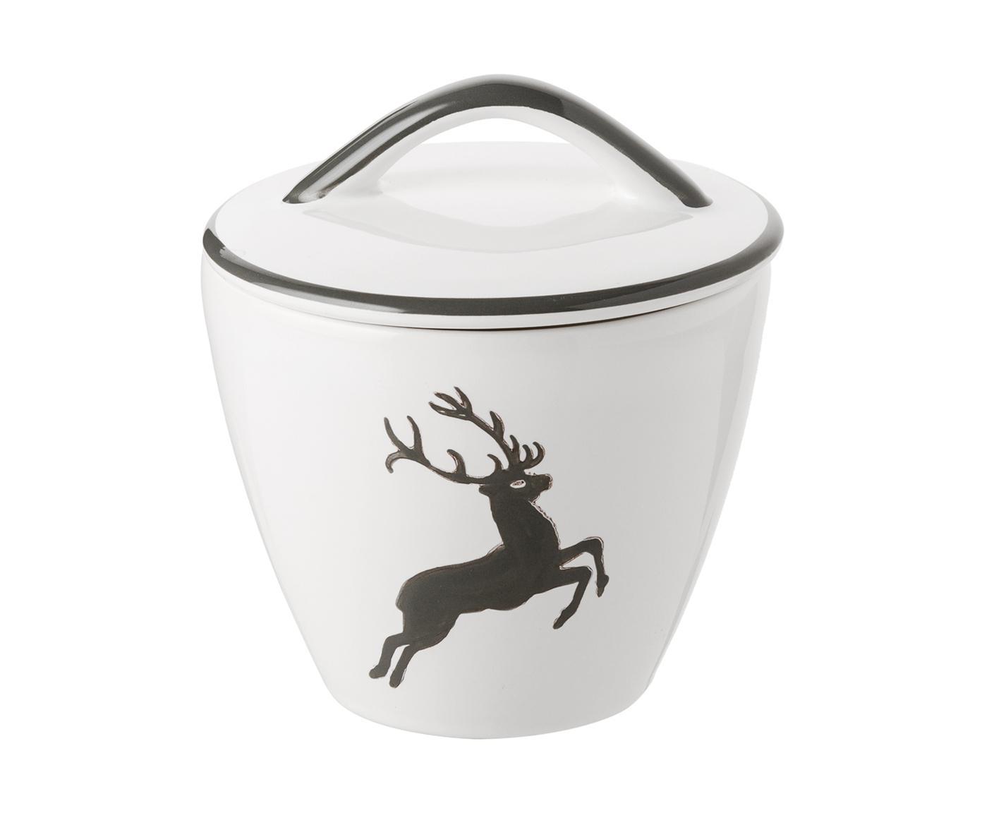 Handbemalte Zuckerdose Gourmet Grauer Hirsch, Keramik, Grau,Weiß, Ø 9 cm