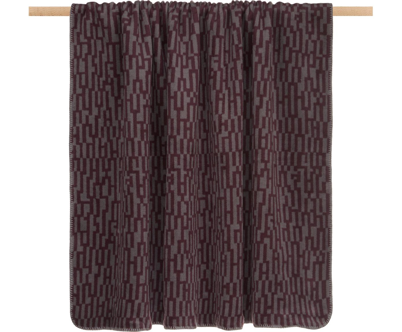 Plaid Abstract, 50%Baumwolle, 43%Polyacryl (Dralon®), 7%Polyester, Violett, Grau, 150 x 200 cm
