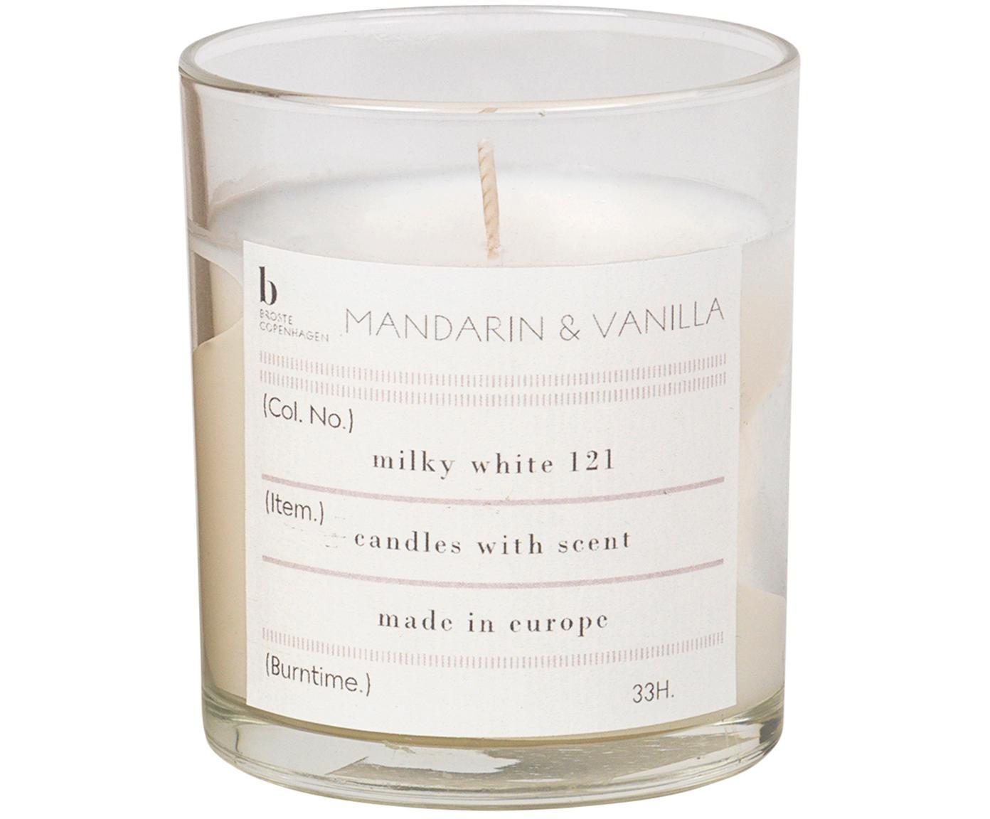 Geurkaars Mandarin (mandarijn, vanille), Houder: glas, Houder: transparant. Geurkaars: wit, Ø 7 x H 8 cm