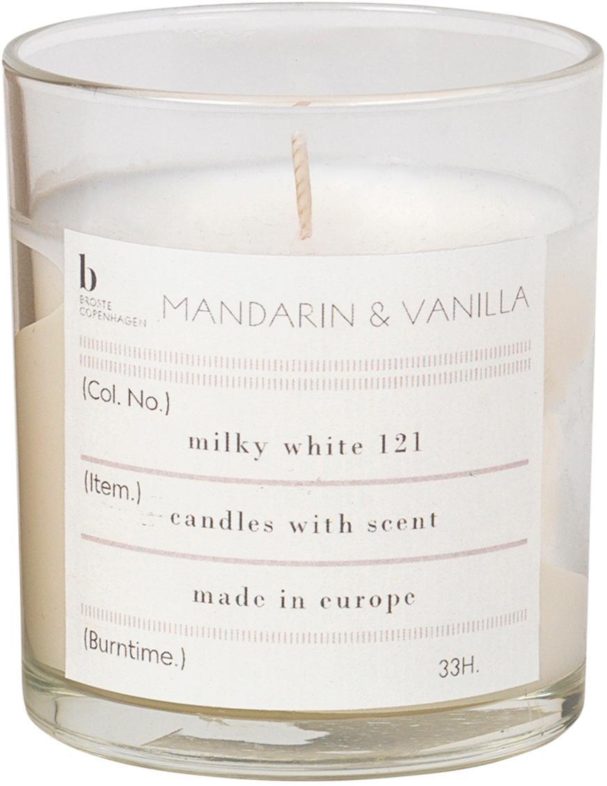 Vela perfumada Mandarin (mandarina, vainilla), Recipiente: vidrio, Recipiente: transparente Vela perfumada: blanco, Ø 7 x Al 8 cm