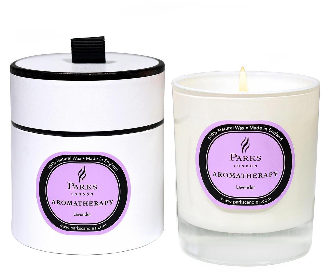 Geurkaars Aromatherapy (lavendel), Houder: glas, Wit, roze, Ø 8 x H 9 cm