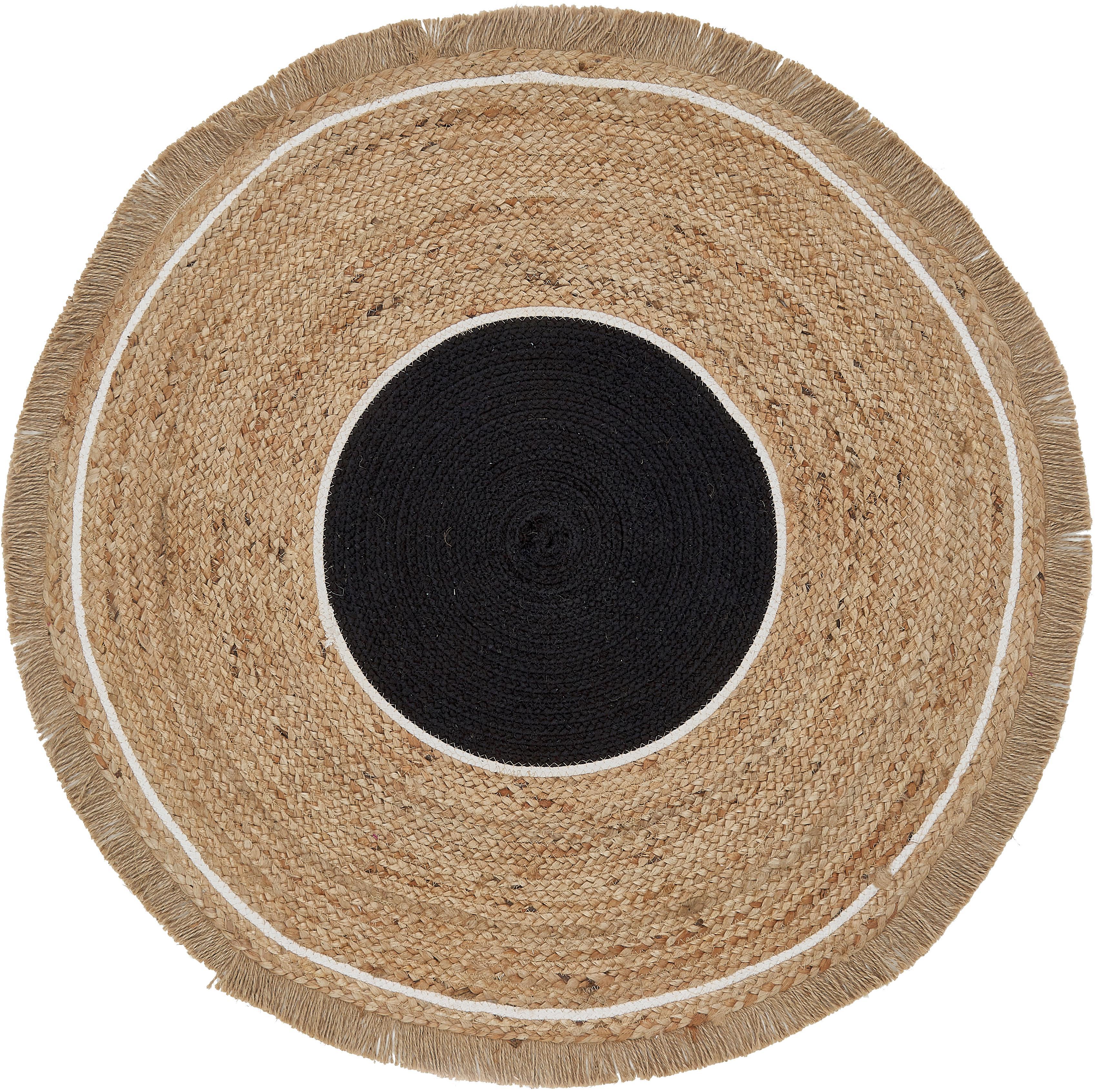 Okrągły dywan z juty z frędzlami Boham, Juta, bawełna, Juta, czarny, biały, Ø 100 cm (Rozmiar XS)