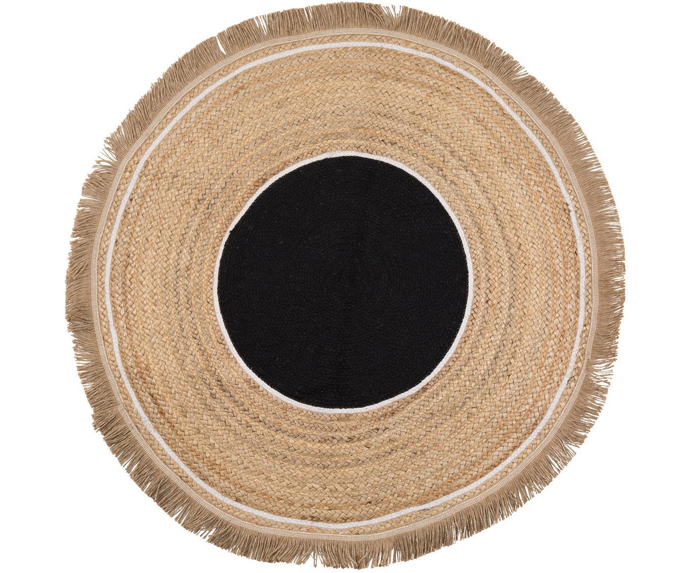 Runder Jute-Teppich Boham mit Fransen, Jute, Baumwolle, Jute, Schwarz, Weiss, Ø 100 cm (Grösse XS)