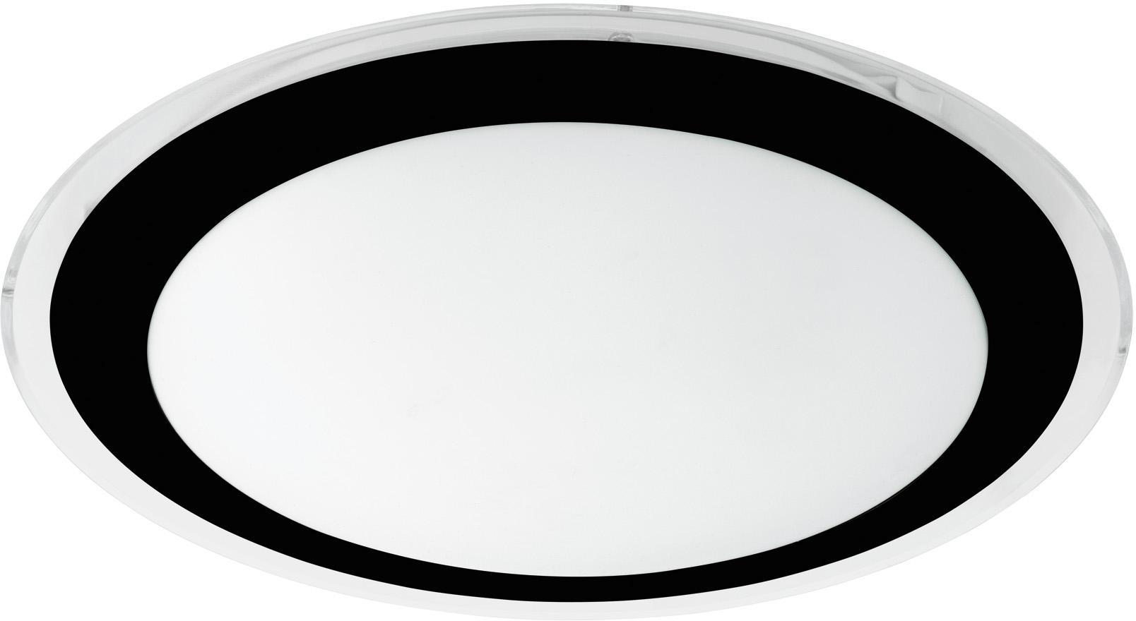 LED Deckenleuchte Competa, Lampenschirm: Kunststoff, Baldachin: Kunststoff, Schwarz, Weiß, Ø 34 x H 4 cm