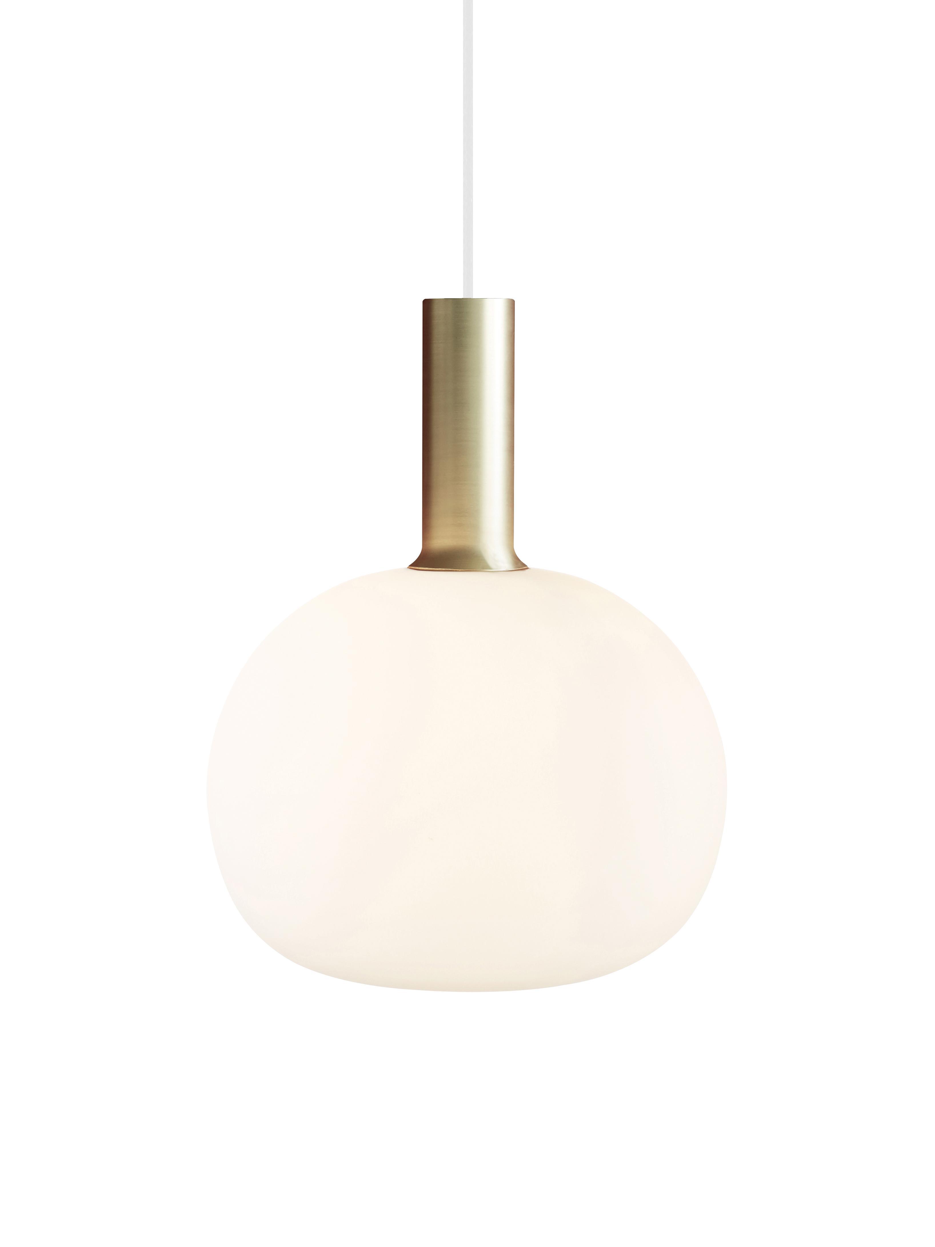 Hanglamp Alton van opaalglas, Diffuser: opaalglas, Messingkleurig, wit, Ø 25 x H 33 cm
