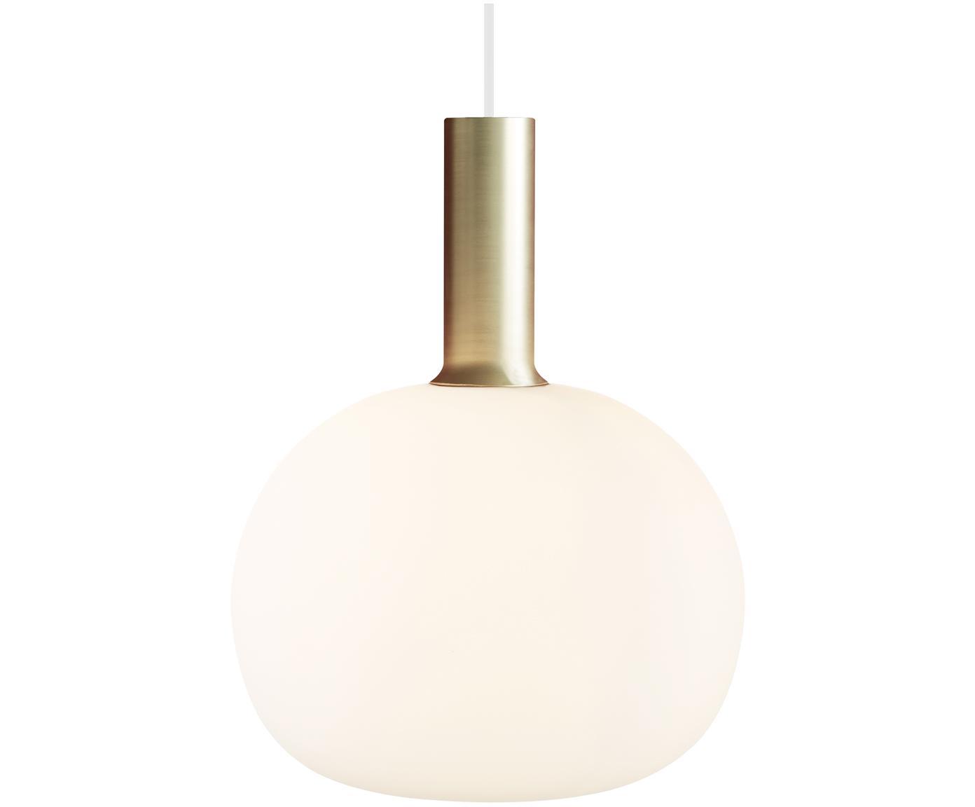 Lámpara de techo pequeña Alton, Fijación: latón o metal pintado Amb, Latón, blanco, Ø 25 x Al 33 cm