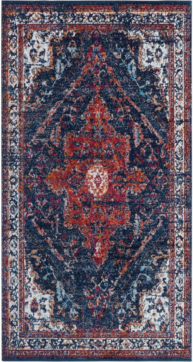 Teppich Azrow im Vintage Style, Flor: 100% Polypropylen, Dunkelblau, Rot, B 80 x L 150 cm (Größe XS)
