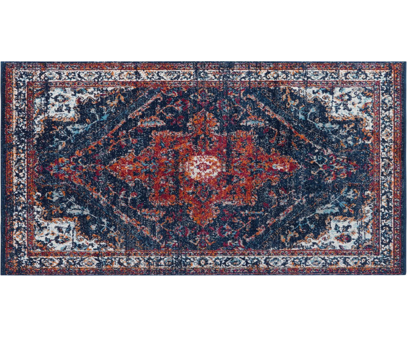 Alfombra Azrow, estilo vintage, Parte superior: 100%polipropileno, Reverso: poliéster, Azul oscuro, rojo, An 80 x L 150 cm (Tamaño XS)