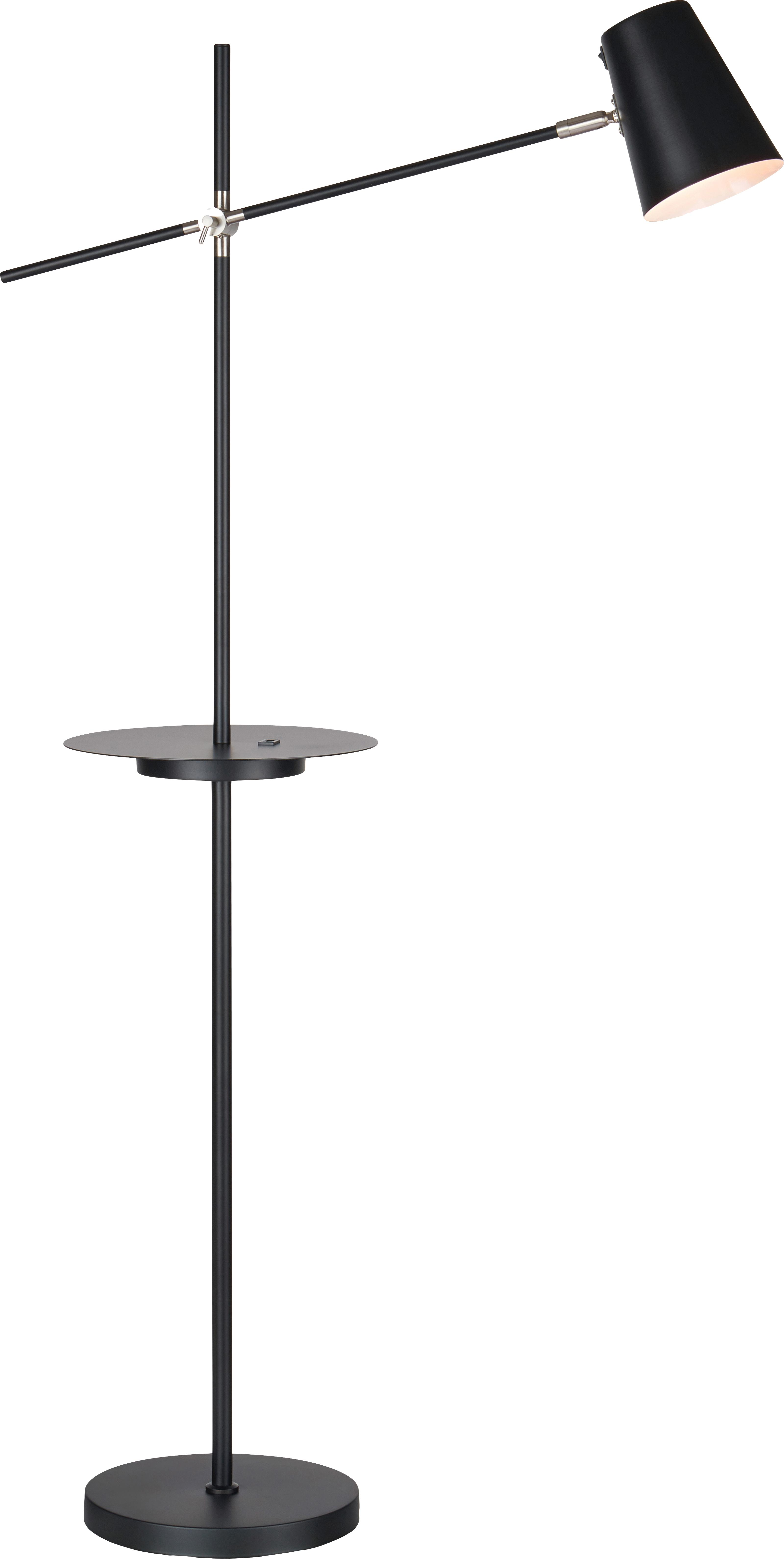 Lampada da terra con mensola e connessione USB Linear, Lampada: metallo rivestito, Nero, Larg. 28 x Alt. 144 cm