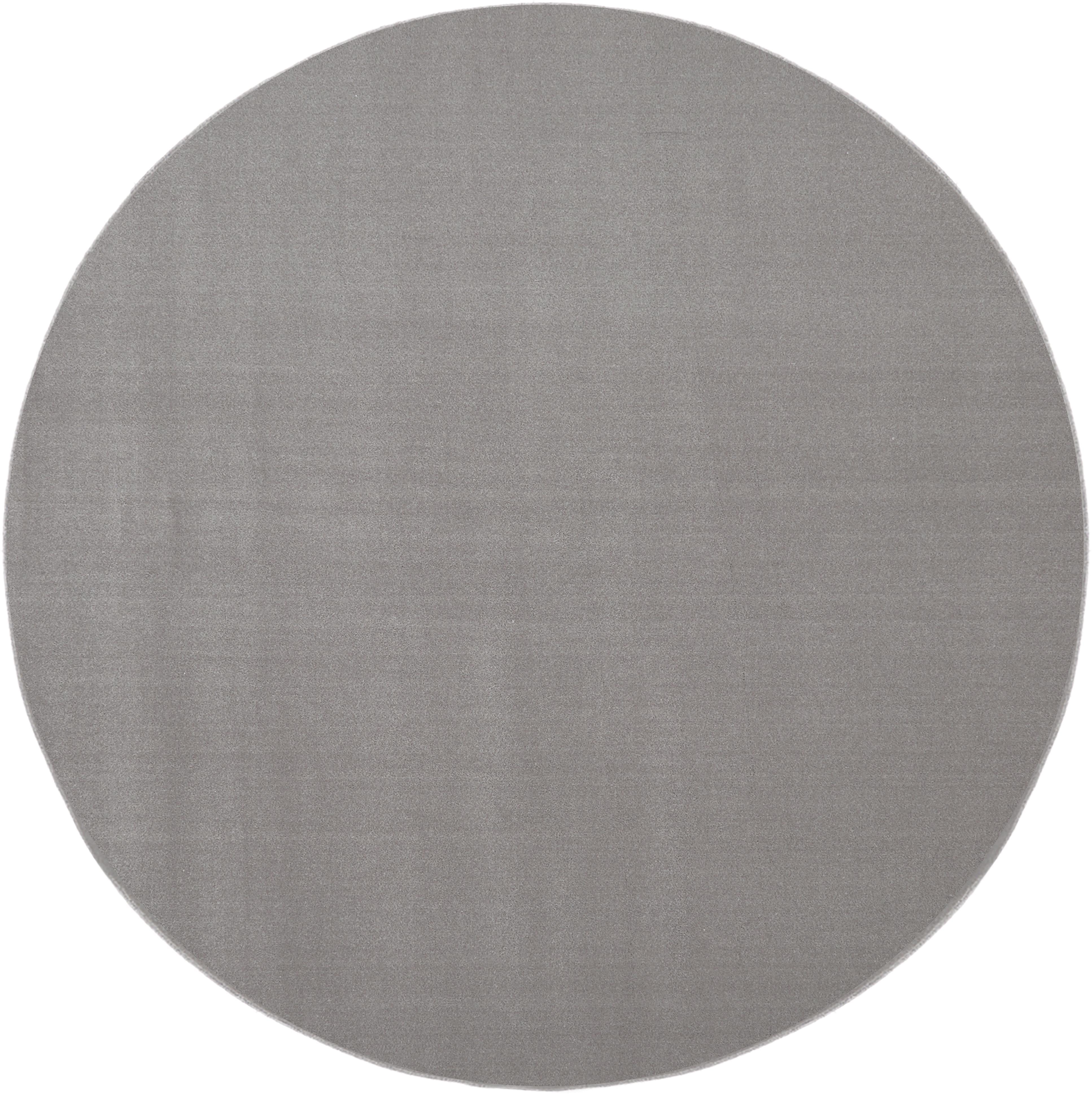 Alfombra redonda de lana Ida, Parte superior: lana, Reverso: 60%yute, 40%poliéster, Gris, Ø 120 cm (Tamaño S)