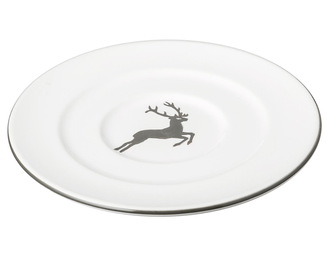 Piatto caffe Gourmet con cervo grigio, Ceramica, Grigio, bianco, Ø 16 cm
