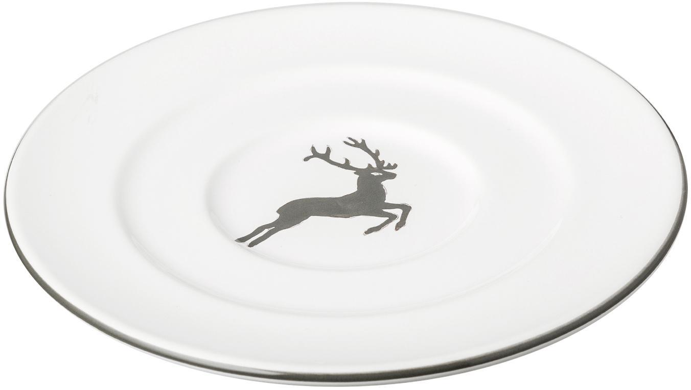 Handbemalte Untertasse Gourmet Grauer Hirsch, Keramik, Grau,Weiss, Ø 16 cm