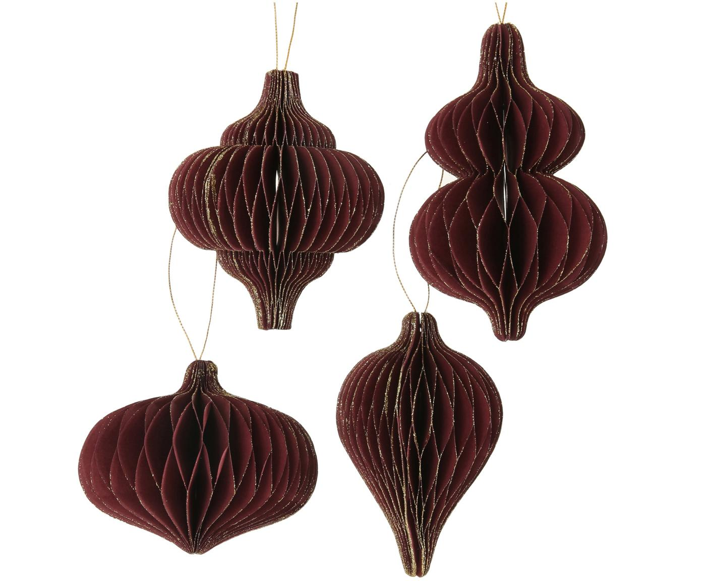 Set ciondoli Sander, 4 pz., Rosso, dorato, Diverse dimensioni