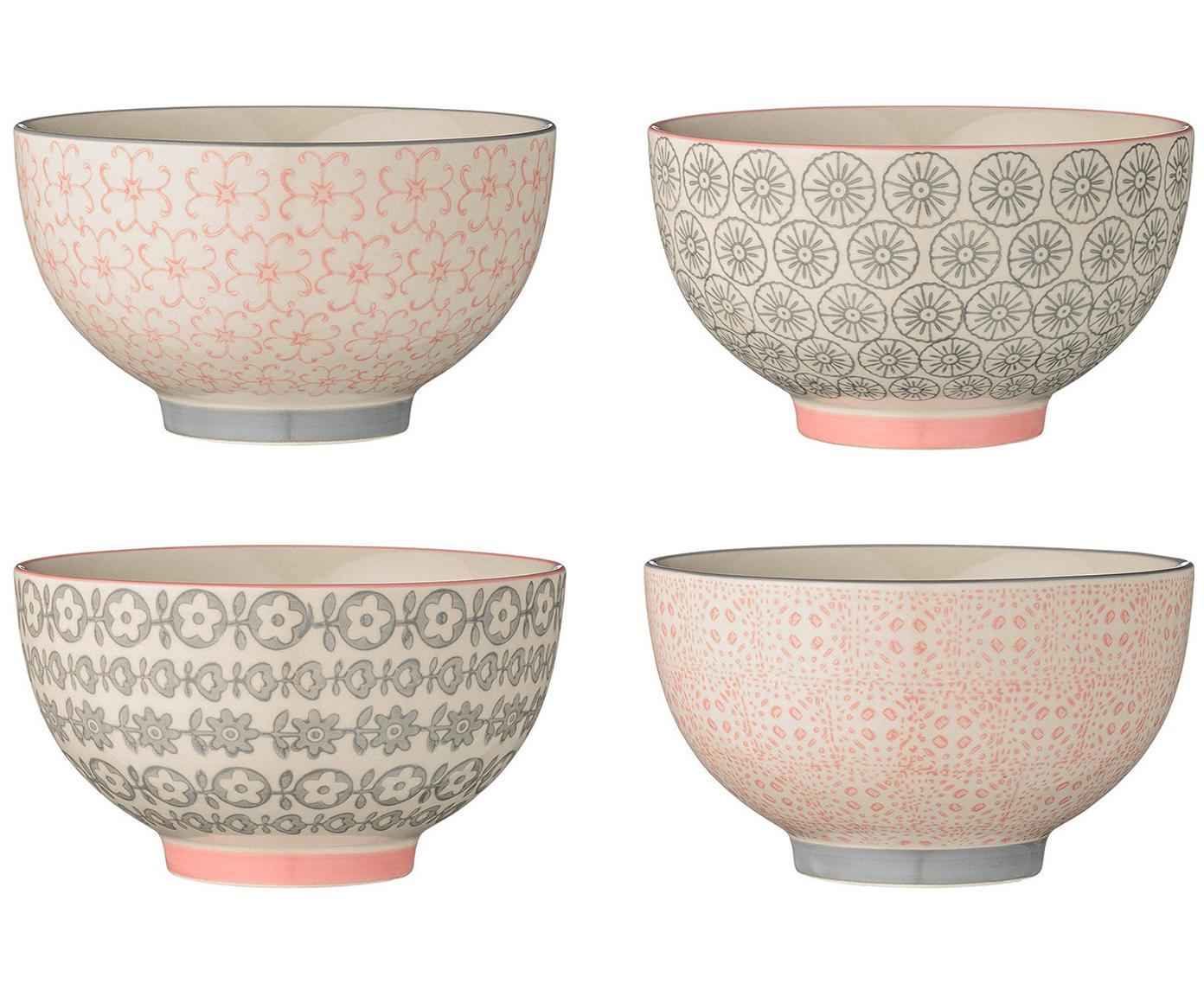 Schälchen-Set Cécile, 4-tlg., Keramik, Rosa, Grau, Beige, Ø 13 x H 8 cm