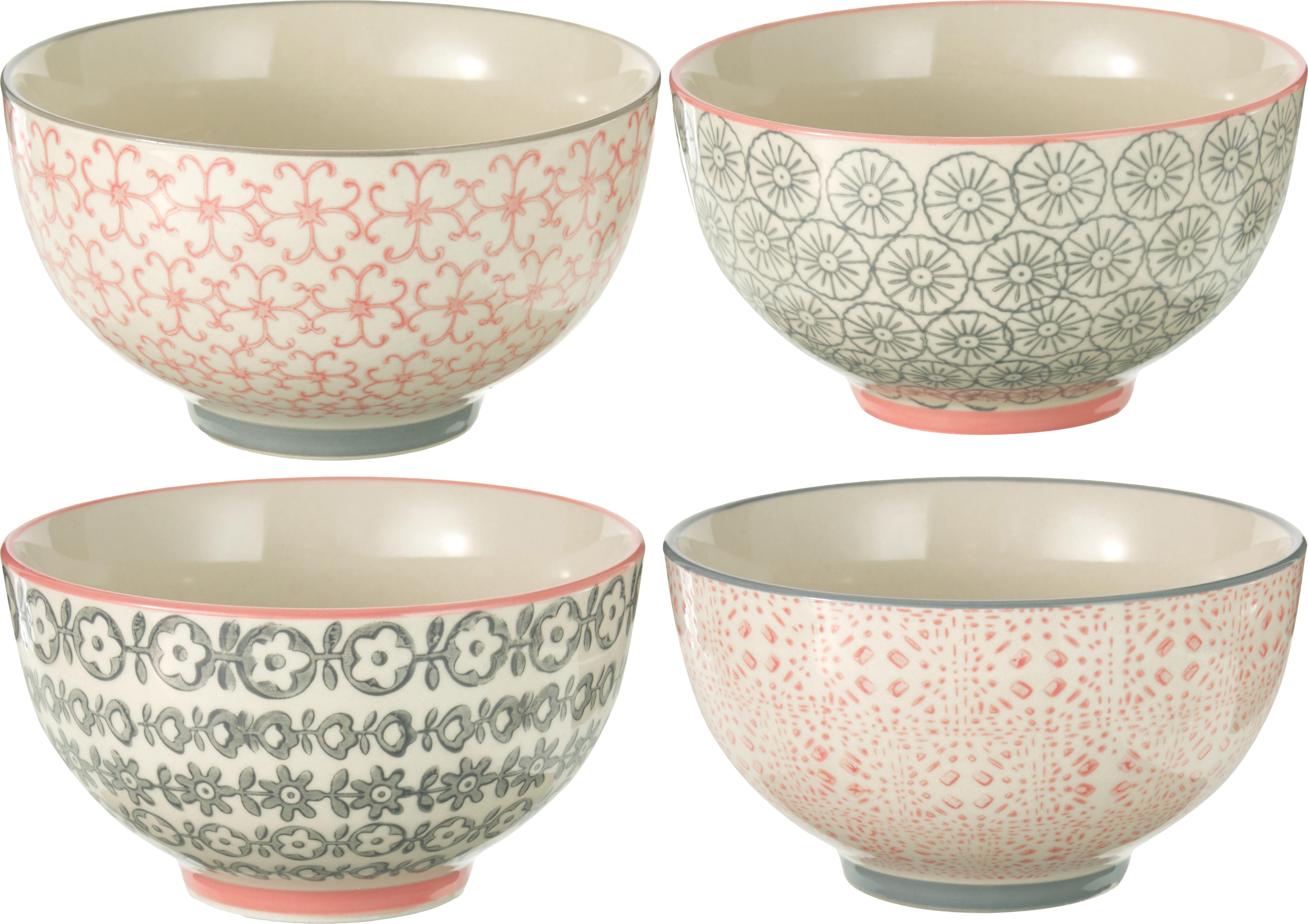 Kommen set Cécile, 4-delig, Keramiek, Beige, grijs, roze, Ø 13 x H 8 cm