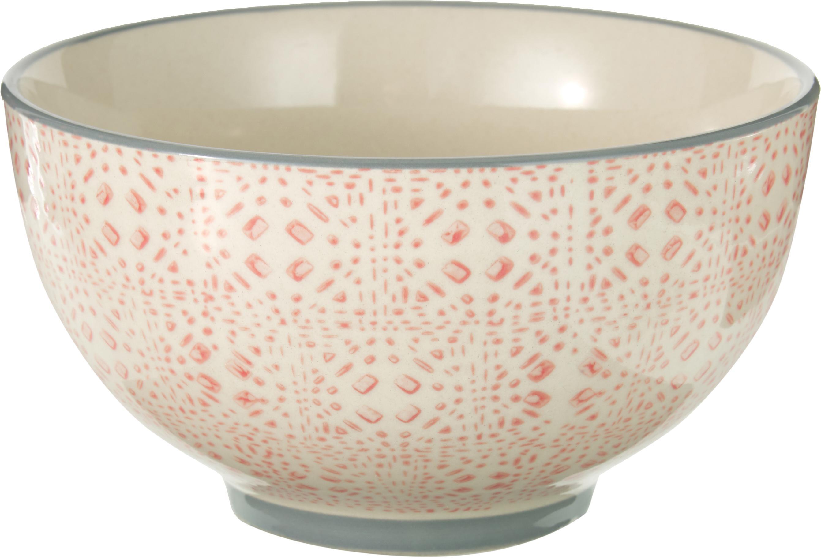Schälchen Cécile mit kleinem Muster, 4er-Set, Keramik, Rosa, Grau, Beige, Ø 13 x H 8 cm