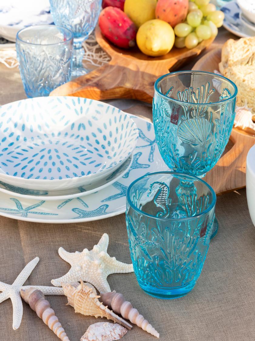Komplet naczyń  Playa, 18 elem., Porcelana, Turkusowy, biały, Komplet z różnymi rozmiarami
