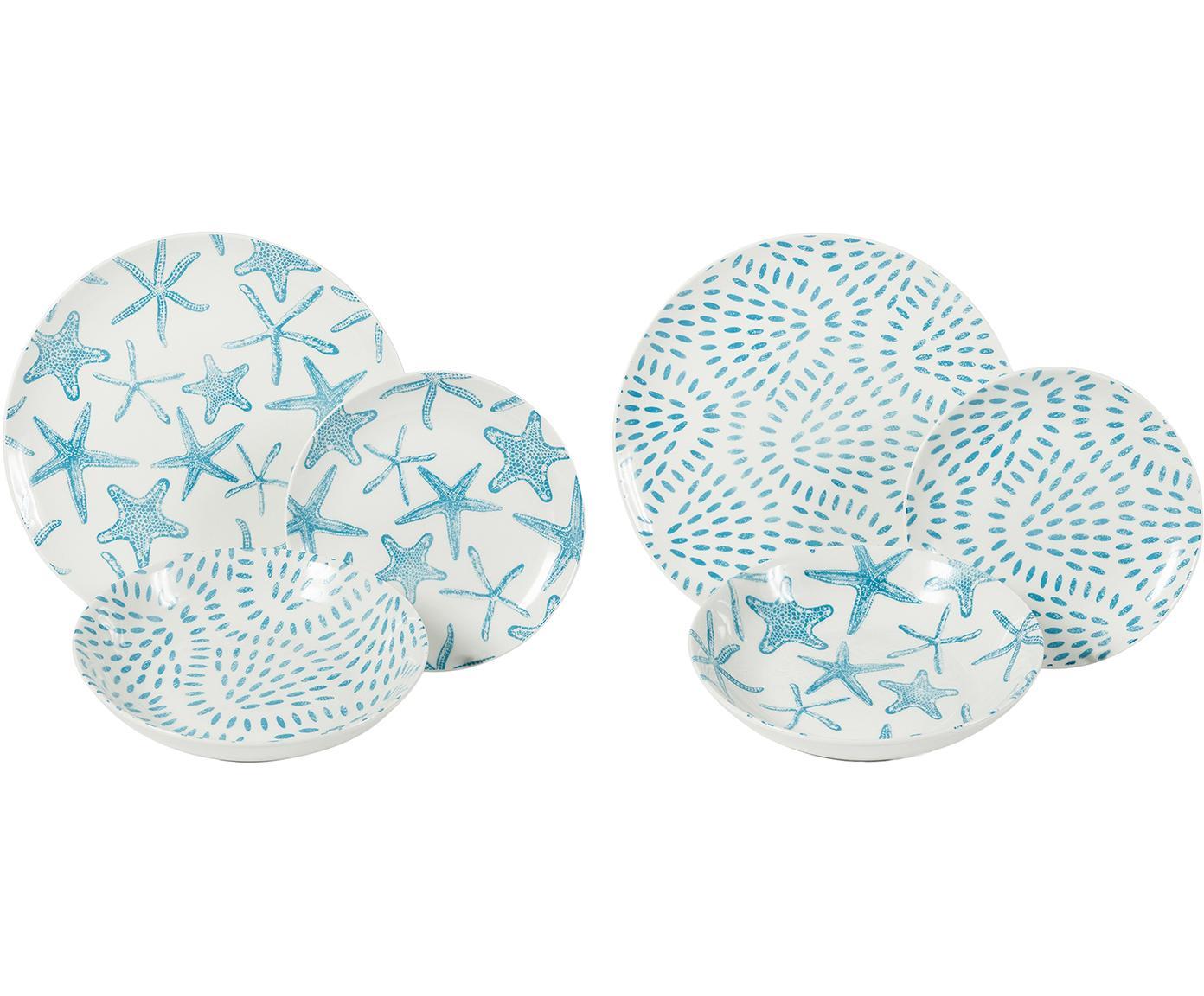 Vajilla Playa, 6comensales (18pzas.), Porcelana, Azul, blanco, Tamaños diferentes