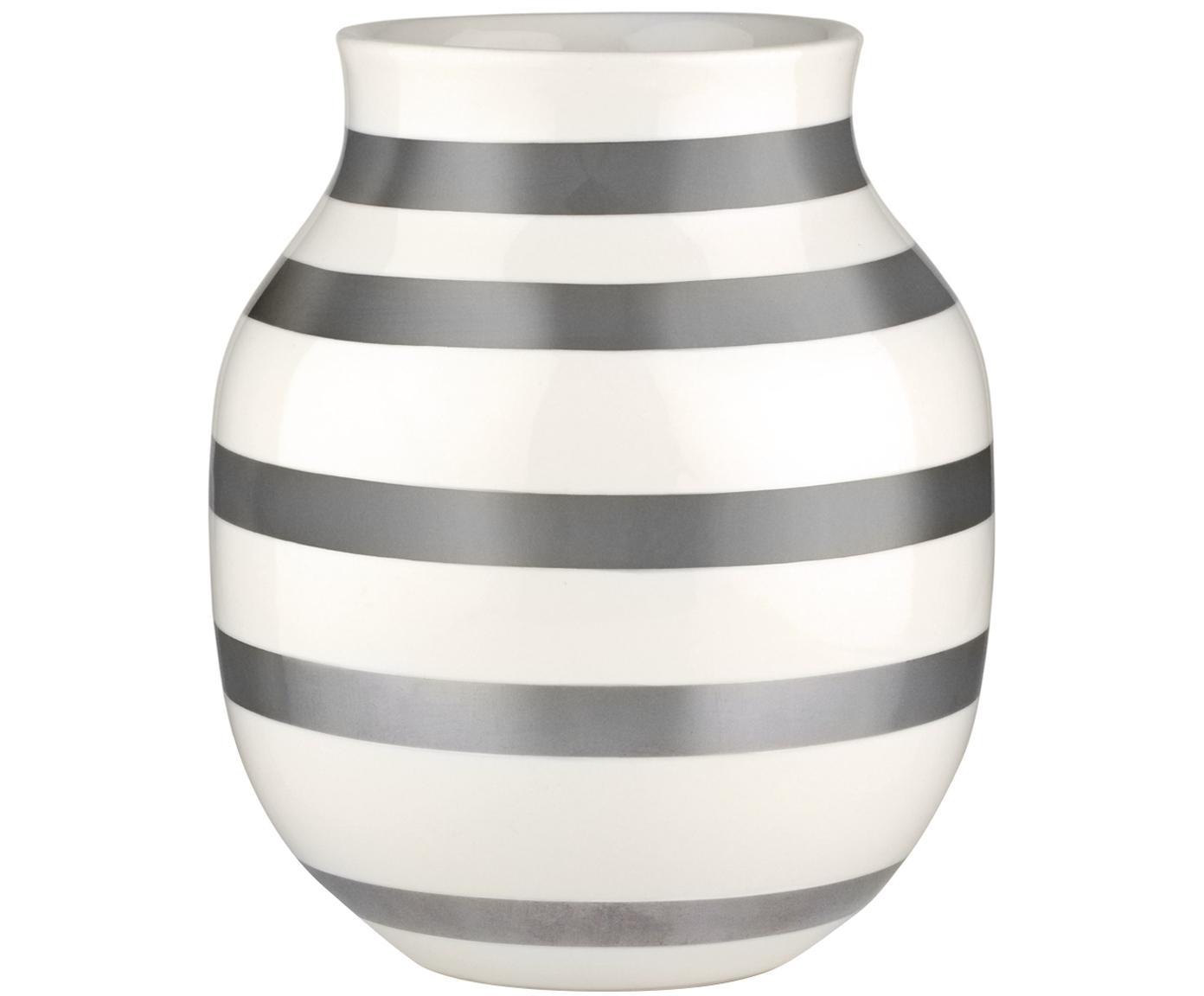 Handgefertigte Design-Vase Omaggio, medium, Keramik, Silberfarben, Weiss, Ø 17 x H 20 cm
