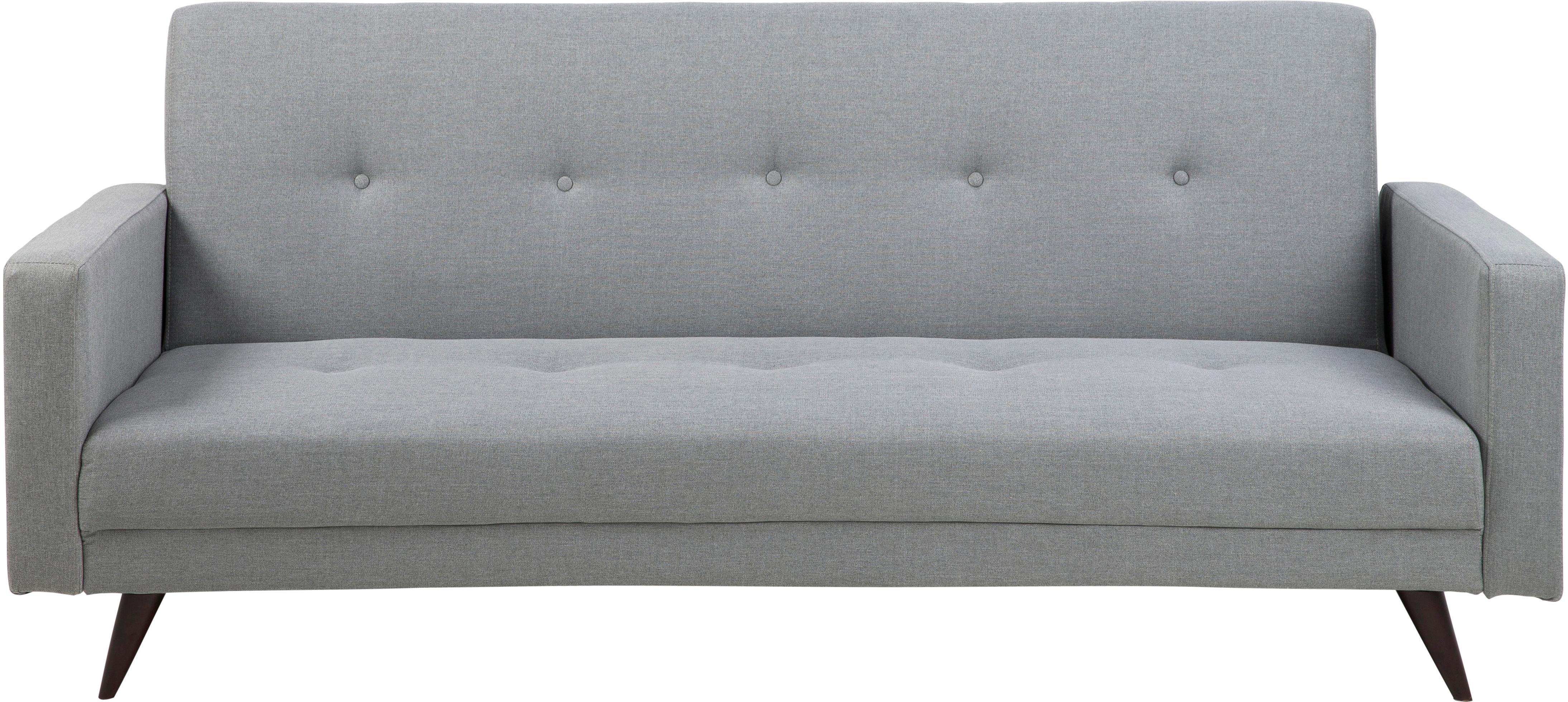 Slaapbank Romain (3-zits), Bekleding: polyester, Poten: gelakt rubberboomhout, Bekleding: lichtgrijs<br>Poten: donkerbruin, B 217  x D 89 cm