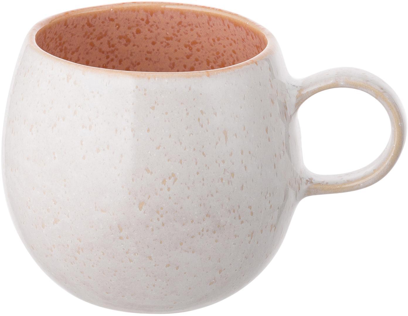 Tazze da tè dipinte a mano Areia, 2 pz., Gres, Tonalità rosse, bianco latteo, beige chiaro, Ø 9 x A 10 cm