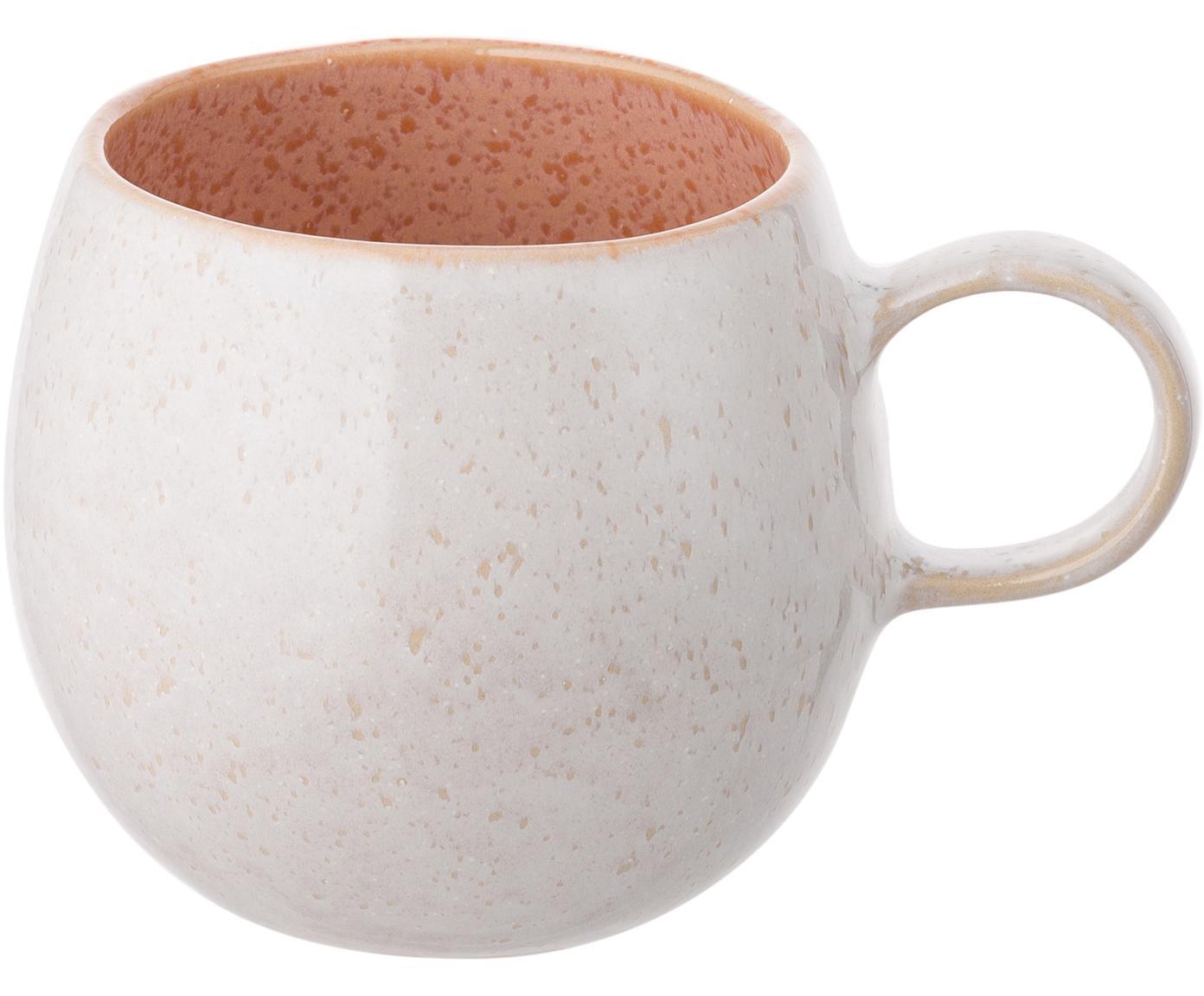 Tazas de té pintadas a mano Areia, 2uds., Gres, Tonos rojos, blanco crudo, beige claro, Ø 9 x Al 10 cm