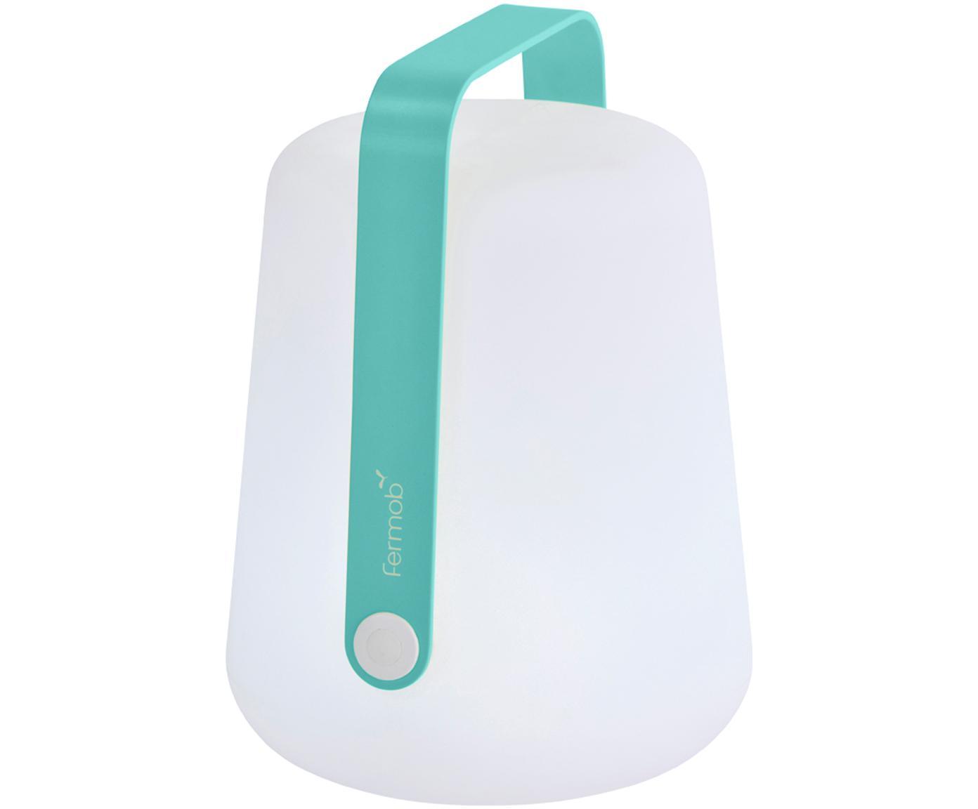 Mobile LED Außenleuchte Balad, Lampenschirm: Polyethen, für den Außenb, Griff: Aluminium, lackiert, Lagunenblau, Ø 19 x H 25 cm