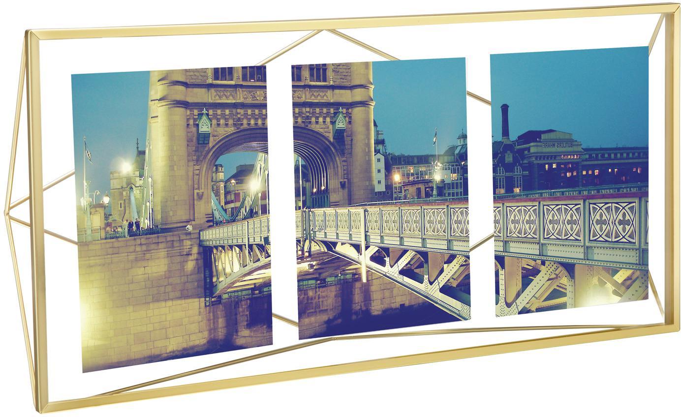 Portafoto multiplo ottonato Prisma, Cornice: acciaio ottonato, Ottone, 13 x 18 cm