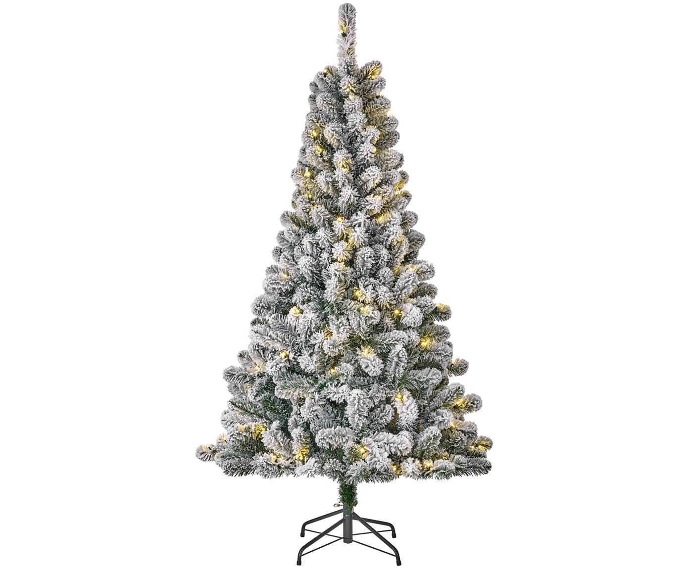 Albero di Natale innevato con luci LED Millington, Verde, ghiacciato, Ø 86 x A 155 cm