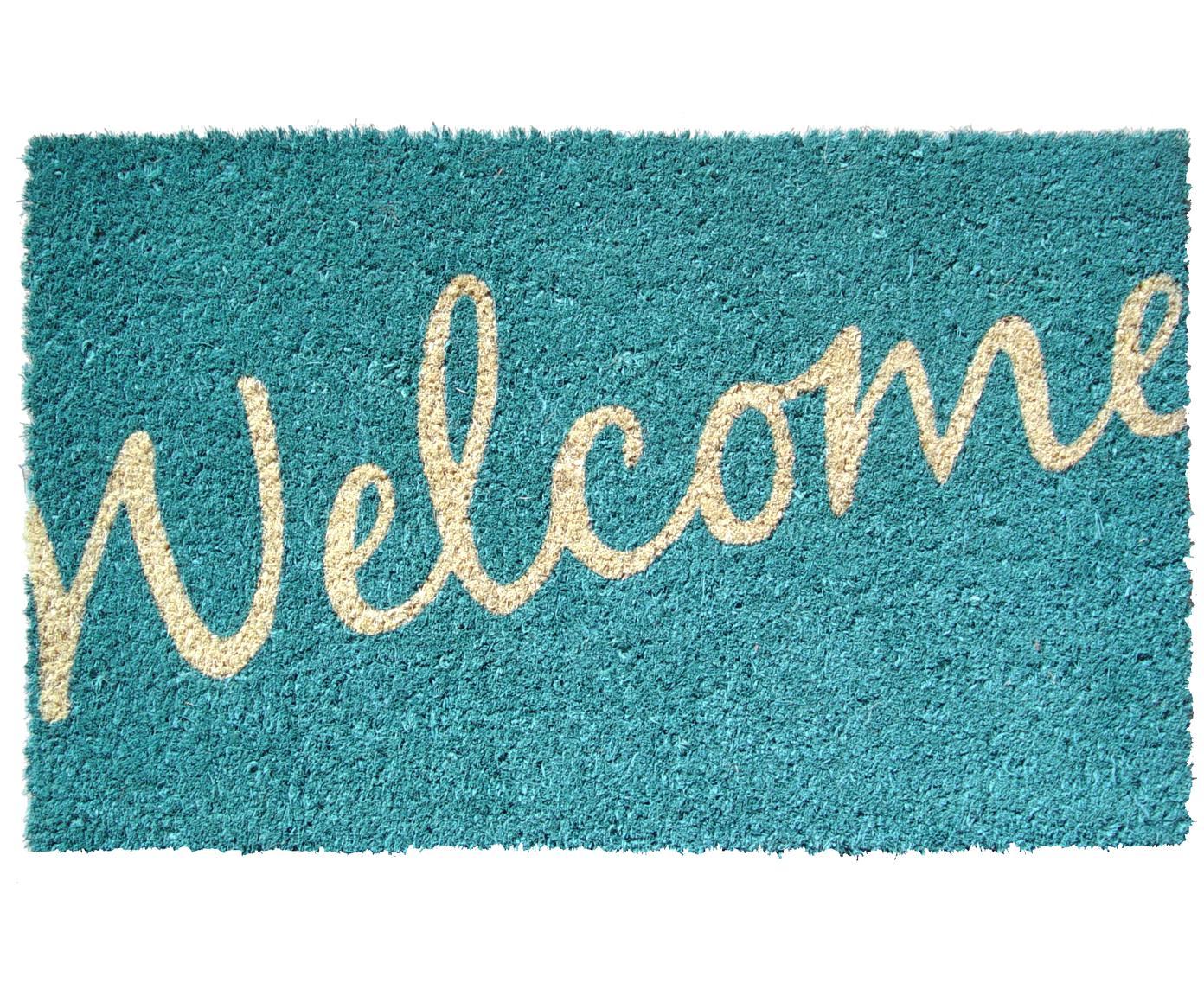 Fußmatte Welcome, Oberseite: Kokosfaser, Unterseite: Kunststoff (PVC), Kräftiges Türkis, Beige, 40 x 60 cm
