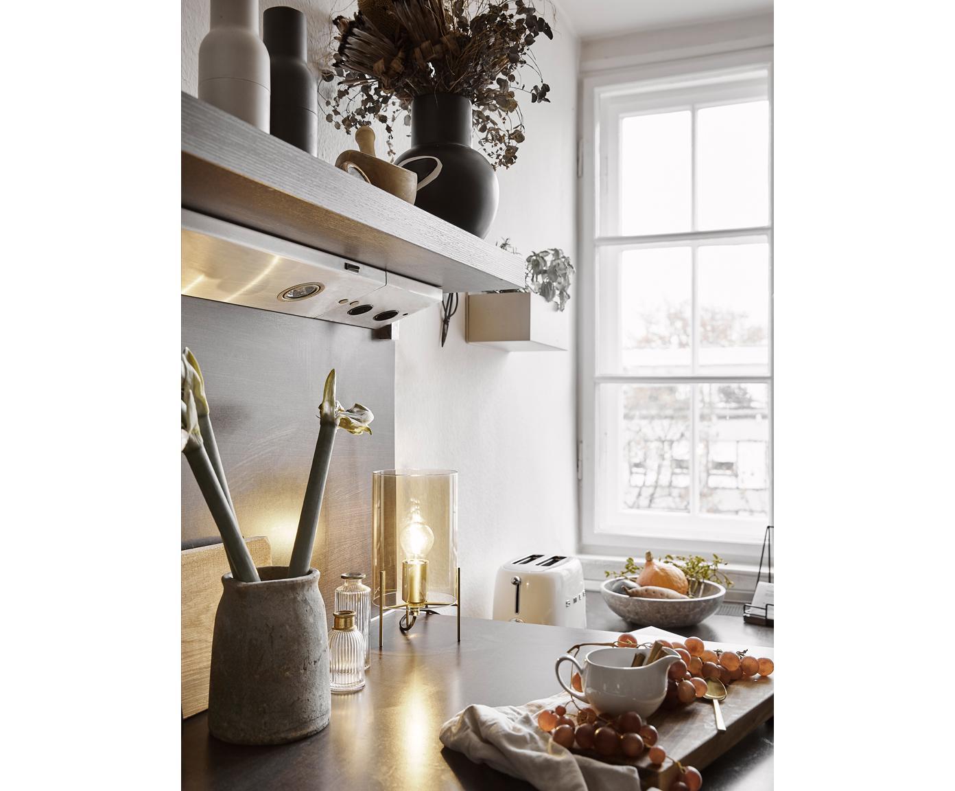 Tafellamp Laurel, Lampvoet: geborsteld metaal, Lampenkap: glas, Lampenkap: amberkleurig. Lampvoet: messingkleurig. Snoer: transparant, Ø 14 x H 28 cm