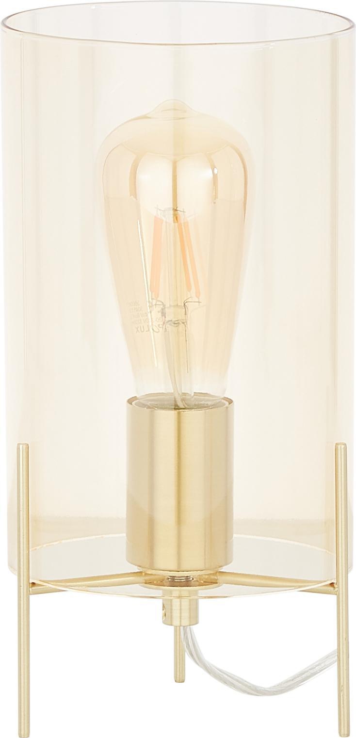 Lampa stołowa Laurel, Klosz: odcienie bursztynowego Podstawa lampy: odcienie mosiądzu Kabel: transpare, Ø 14 x W 28 cm