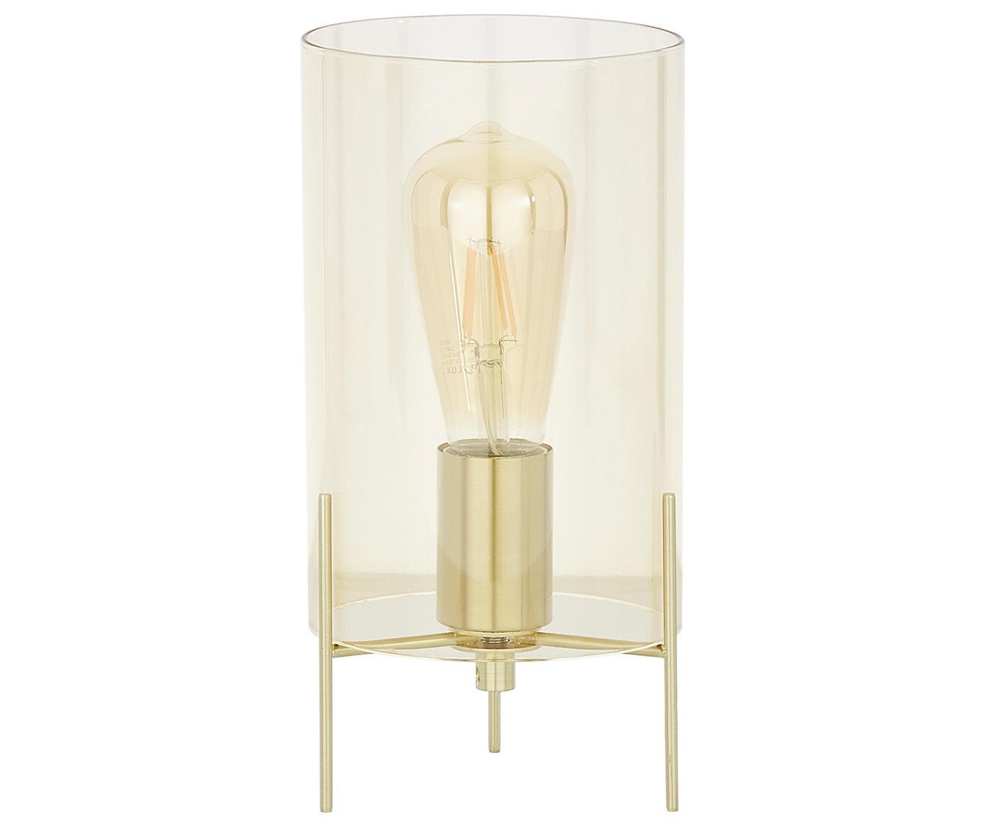 Tischleuchte Laurel aus farbigem Glas, Lampenfuß: Metall, gebürstet, Lampenschirm: Glas, Lampenschirm: BernsteinfarbenLampenfuß: MessingfarbenKabel: Transparent, Ø 14 x H 28 cm