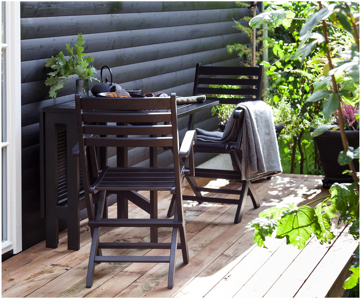 Krzesło ogrodowe z drewna York, Drewno tekowe, piaskowane, lakierowany, Czarny, 51 x 86 cm