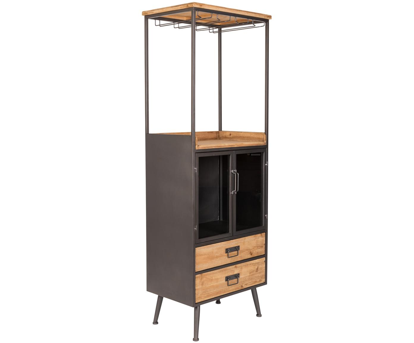 Wijnrek Damian van hout en metaal, Kast, lades: dennenhoutkleurig. Frame, handvatten, wijnglashouder: grijs, 60 x 171 cm