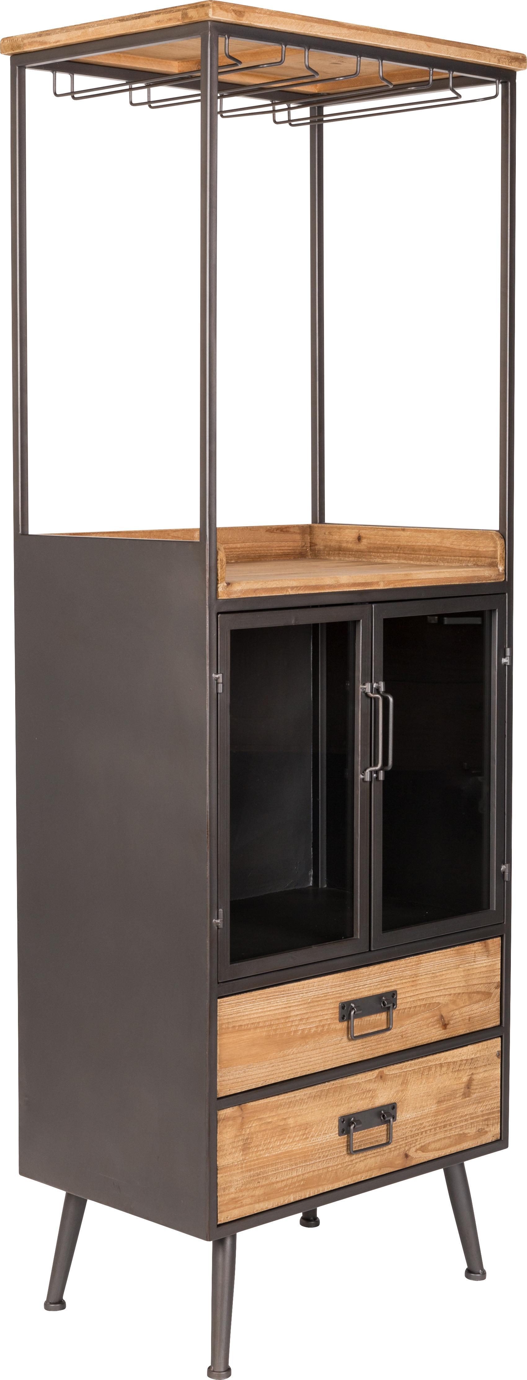 Portabottiglie in legno e metallo Damian, Cassettiera, cassetti: legno di abete Struttura, maniglie, supporto per bicchier, Larg. 60 x Alt. 171 cm