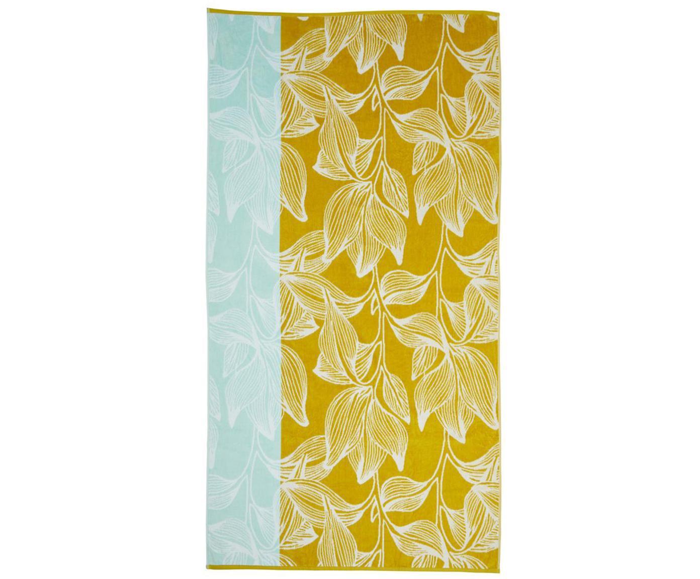 Strandlaken Mimosa, Katoen, lichte kwaliteit, 330g/m², Geel, lichtblauw, 100 x 180 cm