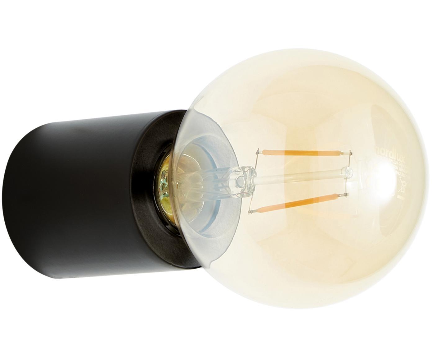 Wandlamp Chanty, Gepoedercoat metaal, Mat zwart, Ø 6 cm
