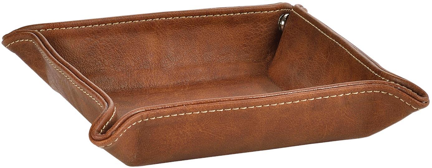 Taca na drobiazgi Button, Tapicerka: poliuretan (sztuczna skór, Brązowy, S 16 x W 4 cm