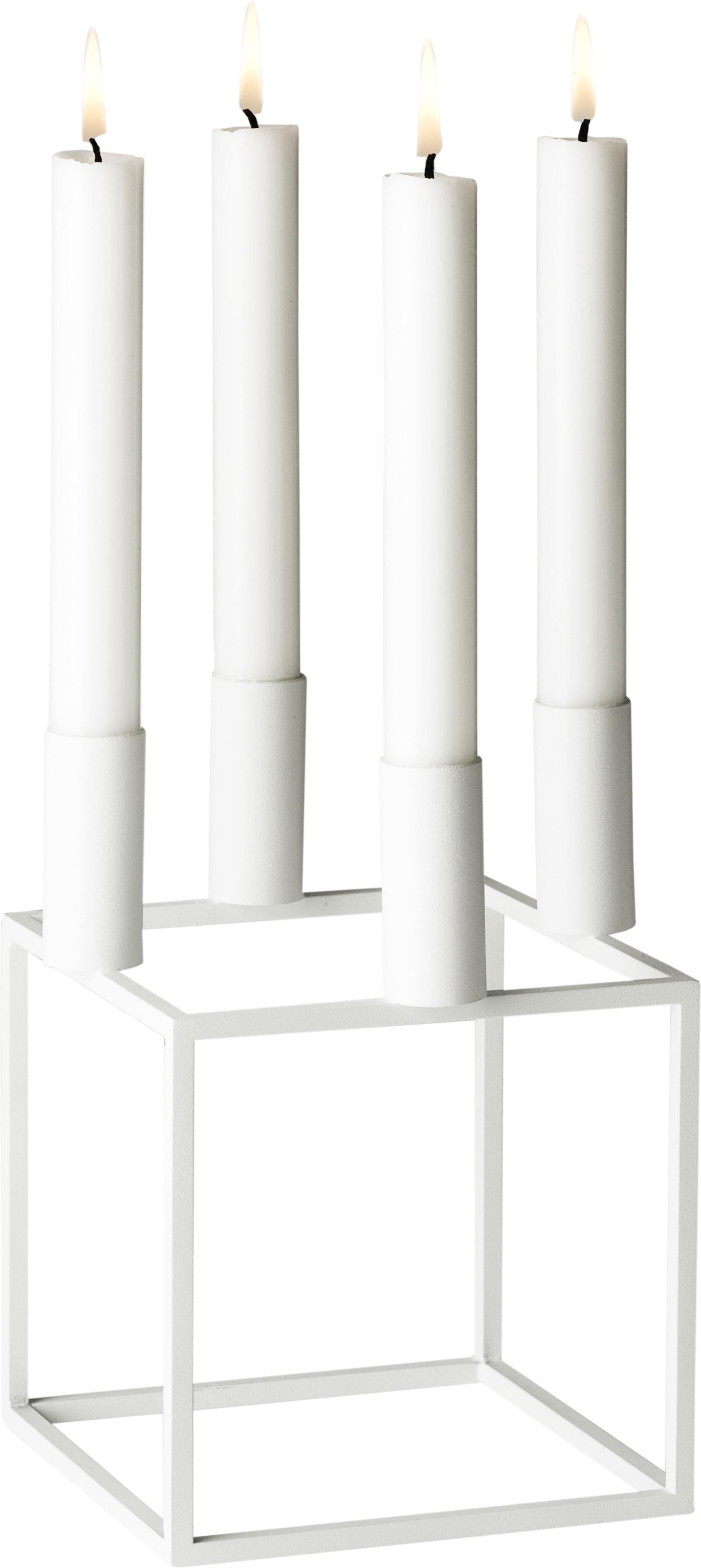 Świecznik Kubus, Stal lakierowana, Biały, S 14 x W 20 cm