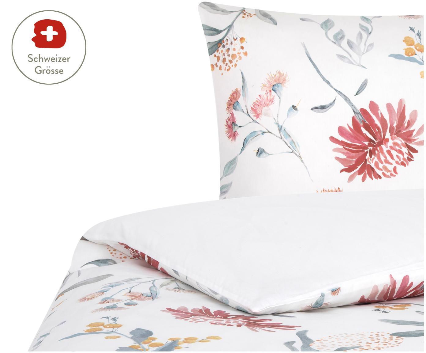Baumwollsatin-Wendeduvetbezug Evie mit Aquarell Blumen-Muster, Webart: Satin Fadendichte 210 TC, Floraler Druck, Weiss, 160 x 210 cm