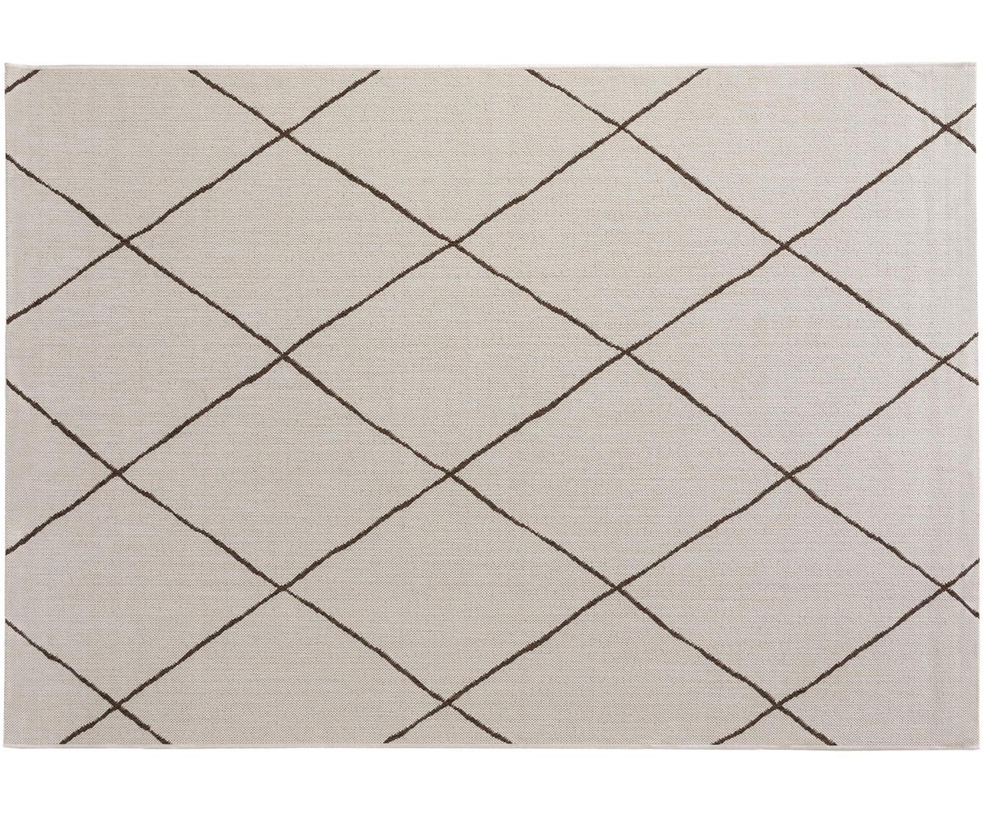 In- & outdoor vloerkleed Metro Check, Polypropyleen, Crèmekleurig, B 80 x L 150 cm (maat XS)